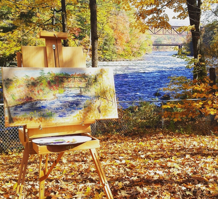 It was my birthday and I spent the day painting the Bow Bridge on the Sacandaga River on a specta...