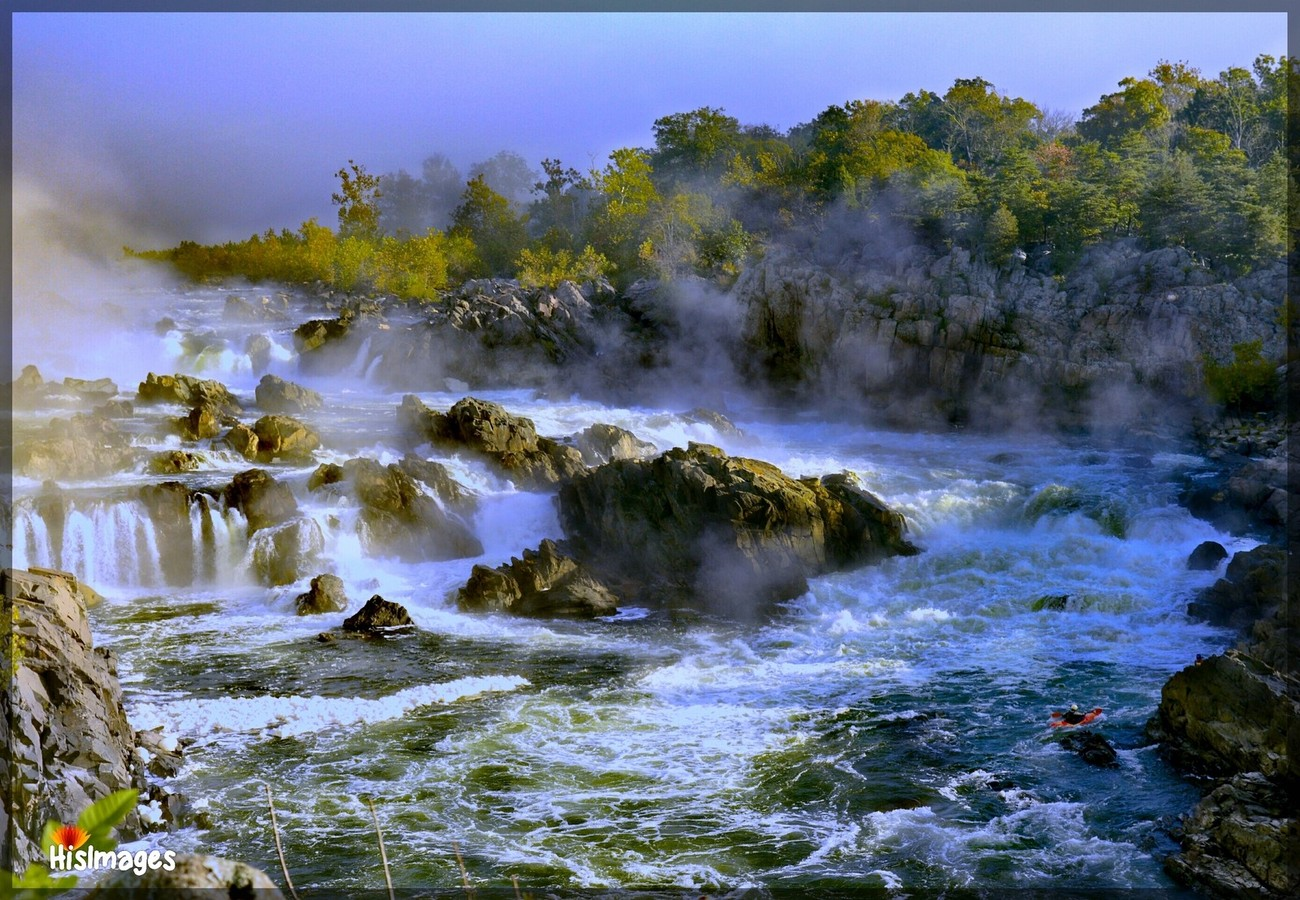 Arrived at Great Falls to capture a fall sunrise. But the Falls were covered in fog.  Spent the next couple of hours watching the fog, listening to the waters roar, and pursuing some greater meaning.  As we were about to leave, we looked back one more time to see the sun burning off the fog, and revealing not only the Great Falls, but also a couple of kayakers trying to navigate the fog, the waters and the rocks.