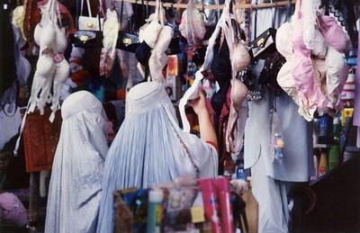 Afghan women looking at bras in Kandahar Afghanistan