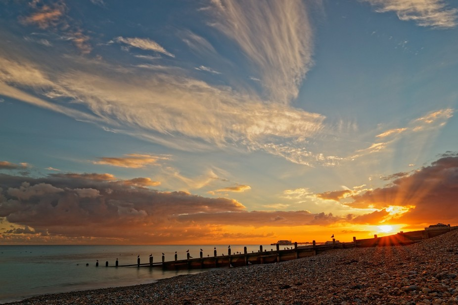 Beautiful sunset over Worthing, West Sussex, England.