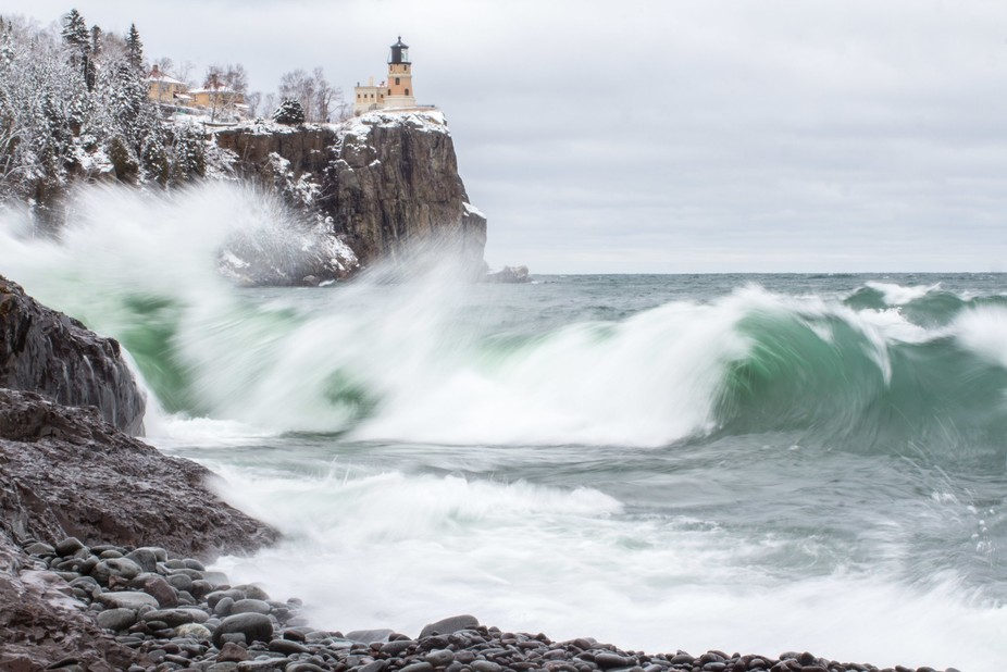 Split Rock Lighthouse on the North Shore of Lake Superior.  During a March storm.