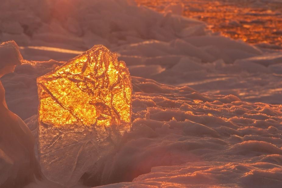 Sunset reflecting on ice