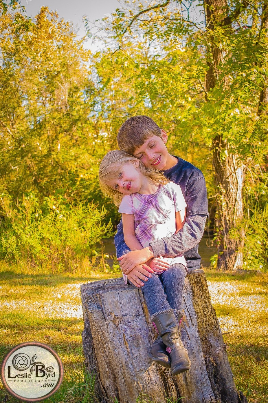 A sweet image of my children captured in an outside Autumn portrait session.