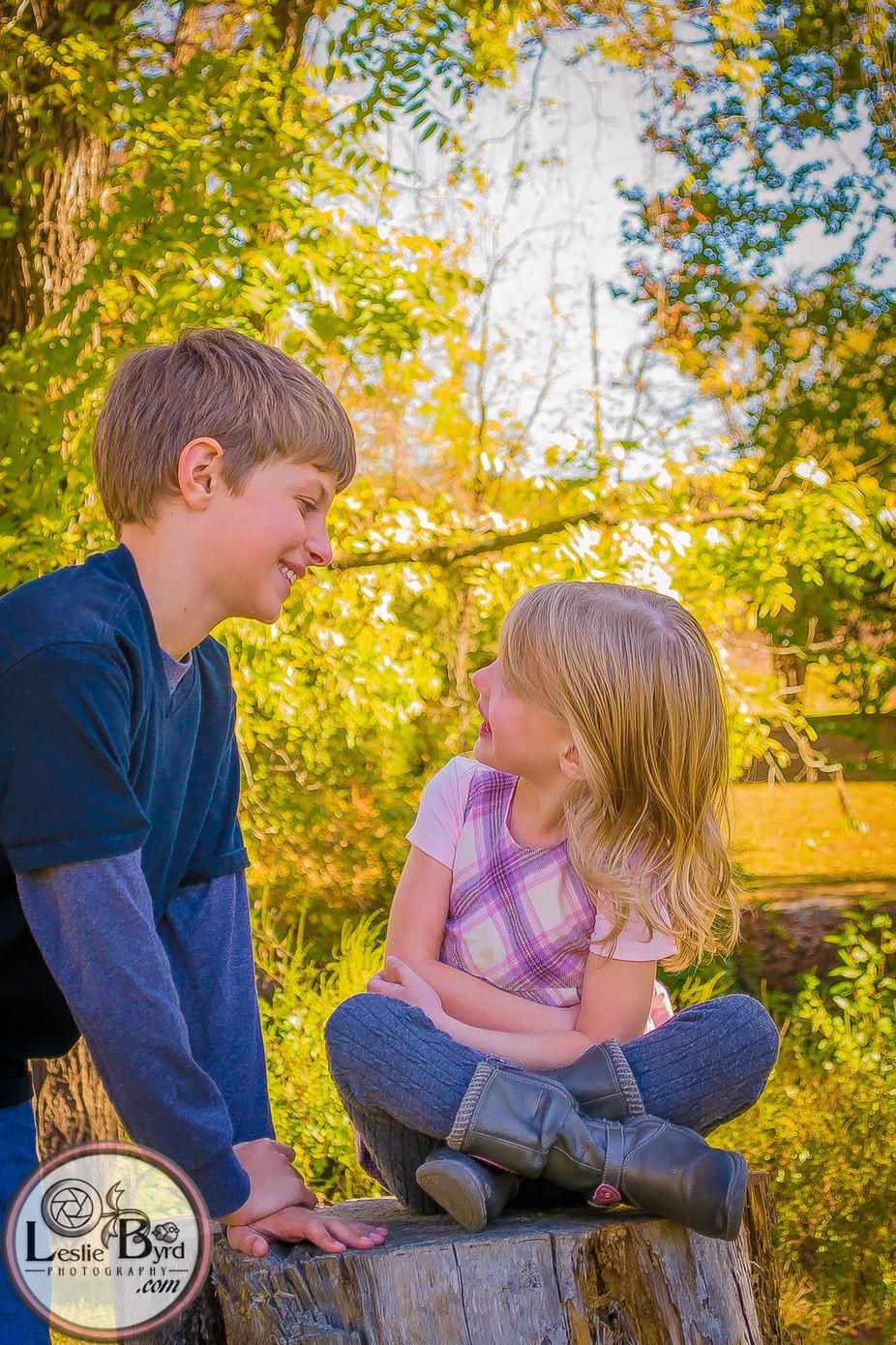A sweet image captured of my children during an Autumn outside portrait session.
