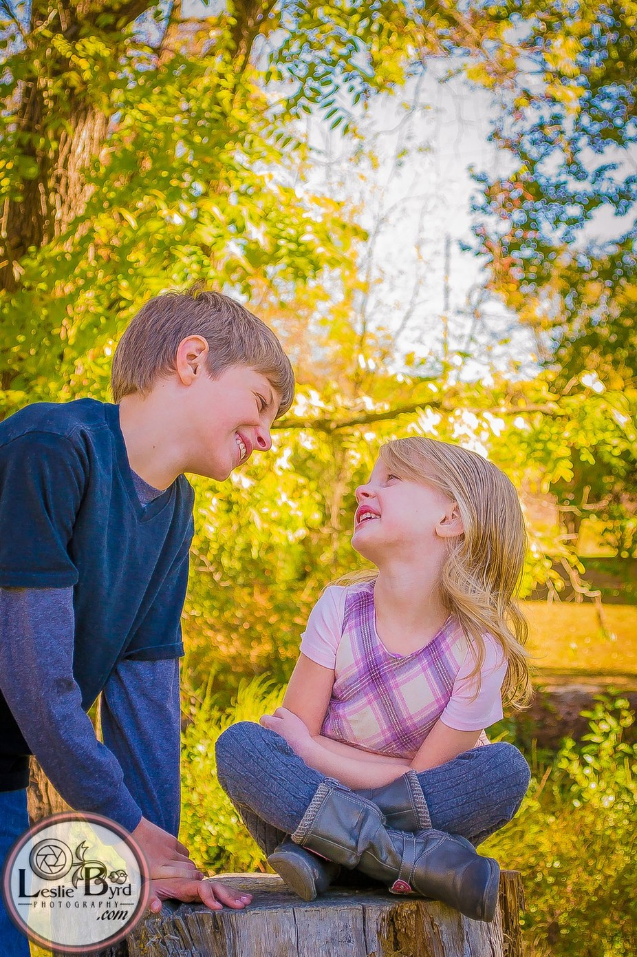 A sweet image of my children captured during an outdoor Autumn photo session.