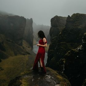 My friend Jenna helped bring my vision to life by wearing this red dress for her portrait on the edge of Fjadrarglijufur canyon in south Iceland,...