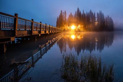 Emerald Lake Lodge in the twilight fog
