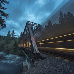 End of a stellar road trip.  I caught a moving train near Mossbrae Falls in Dunsmuir, California.