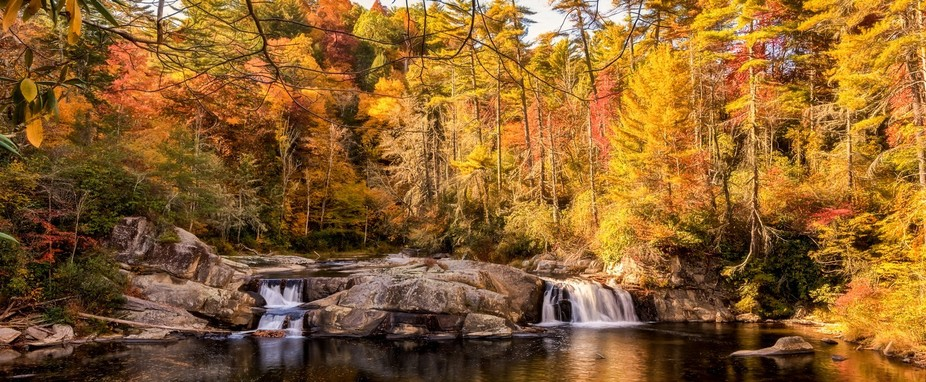 Linville Falls on a beautiful Fall Afternoon.