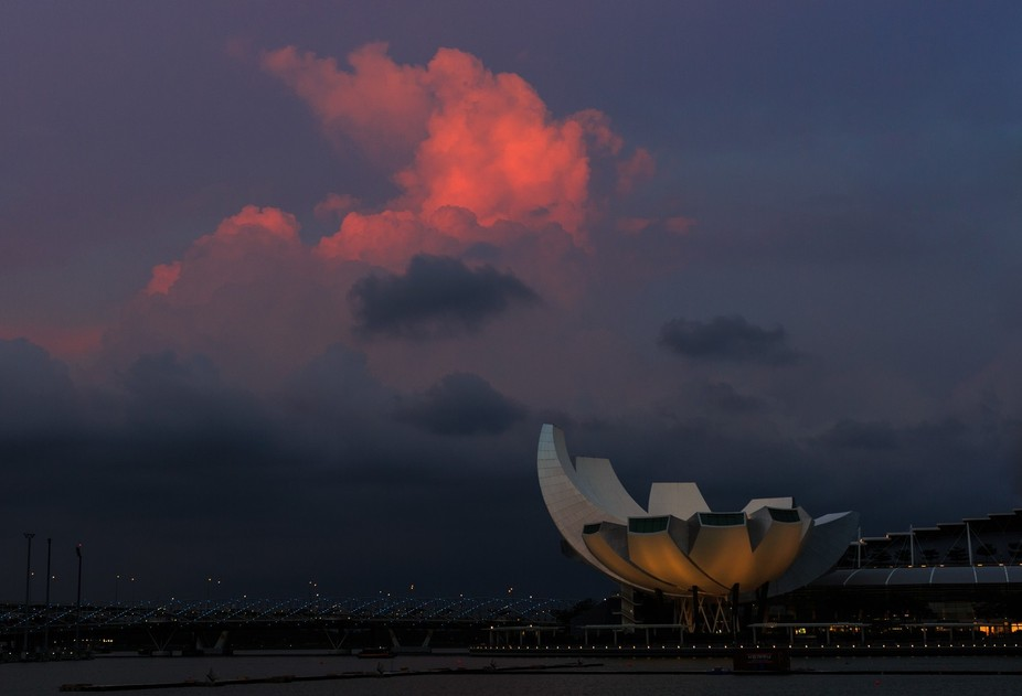 The Art Science Museum in Singapore from across the bay.