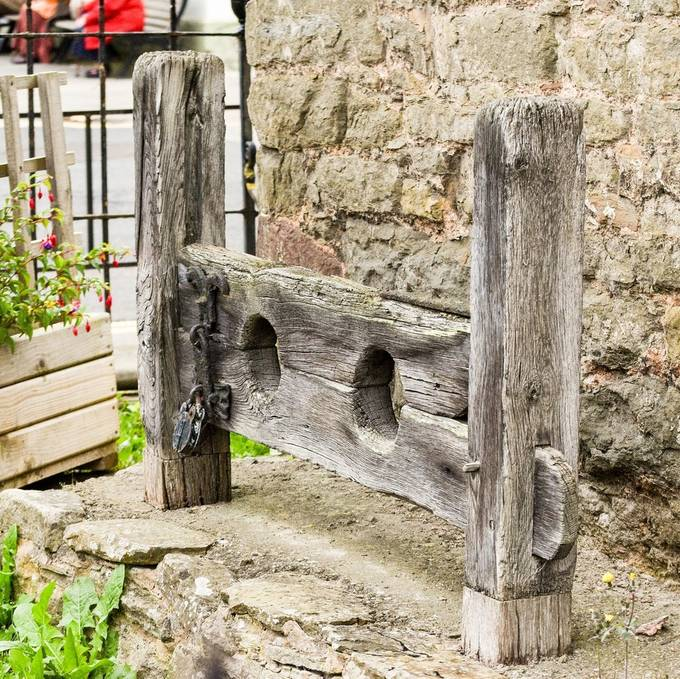 These were used for punishment in Mediaeval times. Situated by Ludlow marketplace, Shropshire, England. I liked the colour of the old wood.
