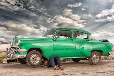 REGLA HAVANA, CUBA - Classic car being repaired