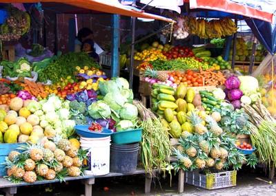 Market food stall in Otavalo