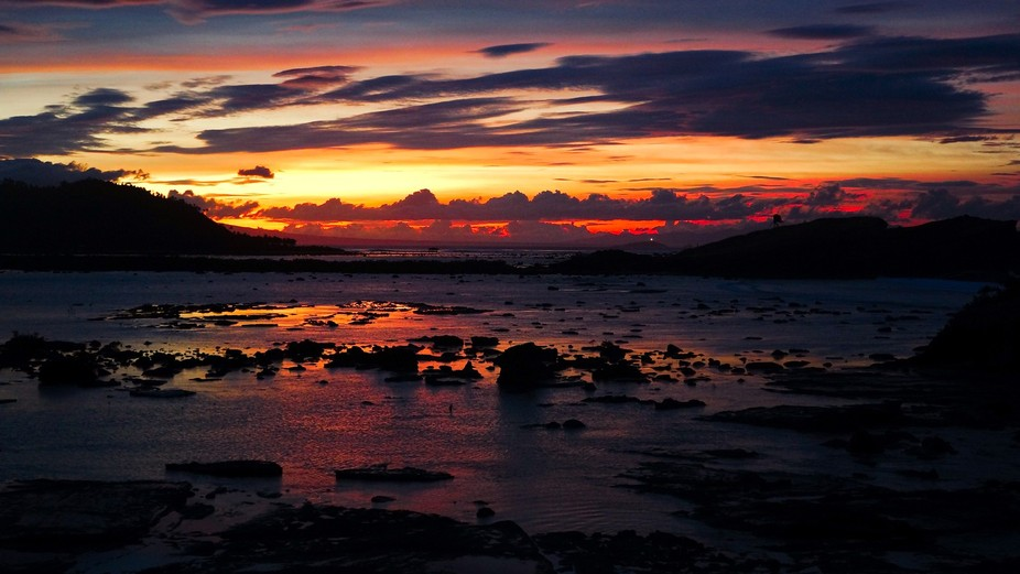 When the sun is below horizon, view from Bel-at rock formation, Biri Is., Northern Samar, Philipp...