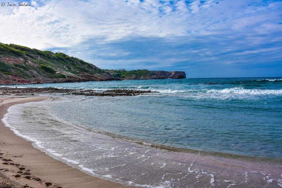 Beach called: Platja des Tancats, Ciutadella, island of Menorca, Spain.