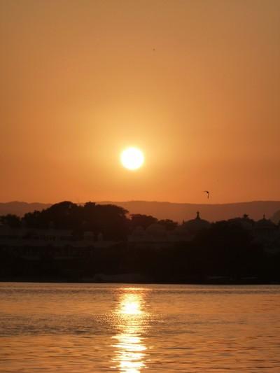 SUNSET OVER LAKE PICHOLA UDAIPUR ,INDIA