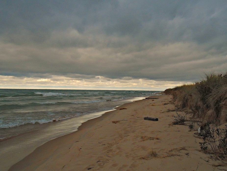 Beautiful view of a stormy sky over lake Michigan.