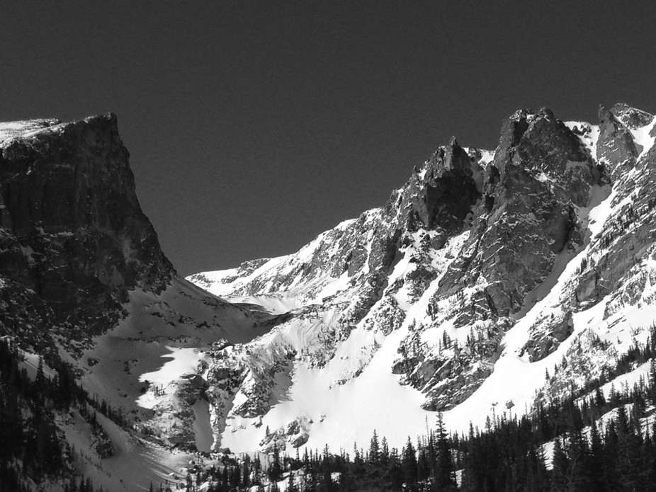 Snow shoeing up to Dream Lake in Rocky Mountain National Park
