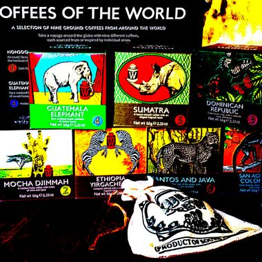 A Coffee Selection from various countries.