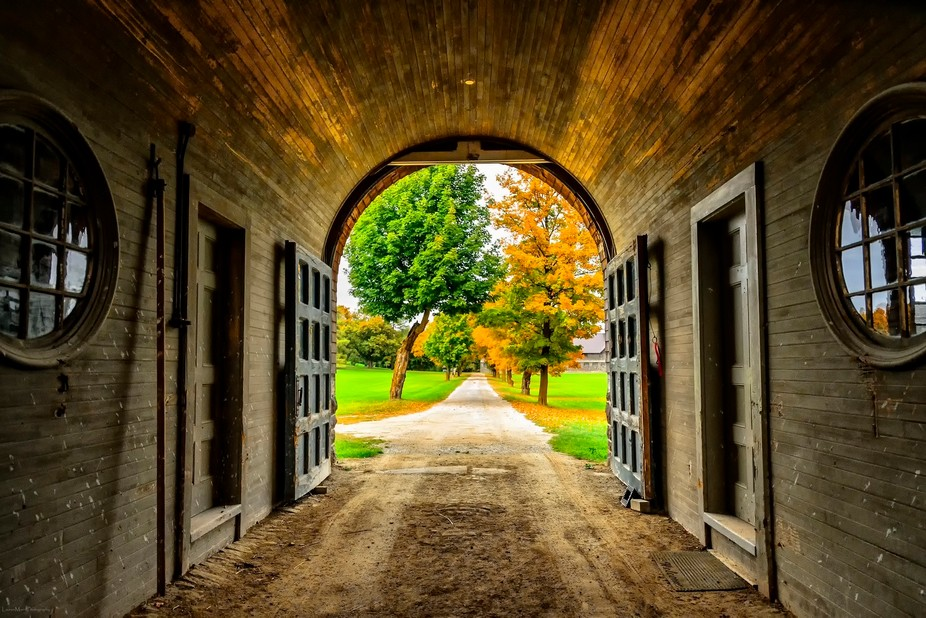 The view from the inside of the old Breeding Barn at Shelburne Farms, in Shelburne, Vermont