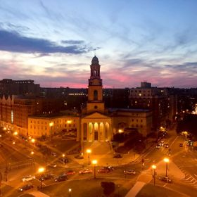 Sunset from the roof of a hotel in Washington D.C. looking at Thomas Circle.