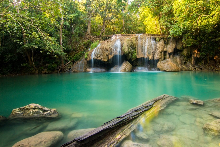 Erawan waterfall in Thailand is one of the most beautiful places I have been. this photo was made...