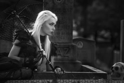High fashion graveyard shoot