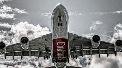 Emirates A380 landing at AMS