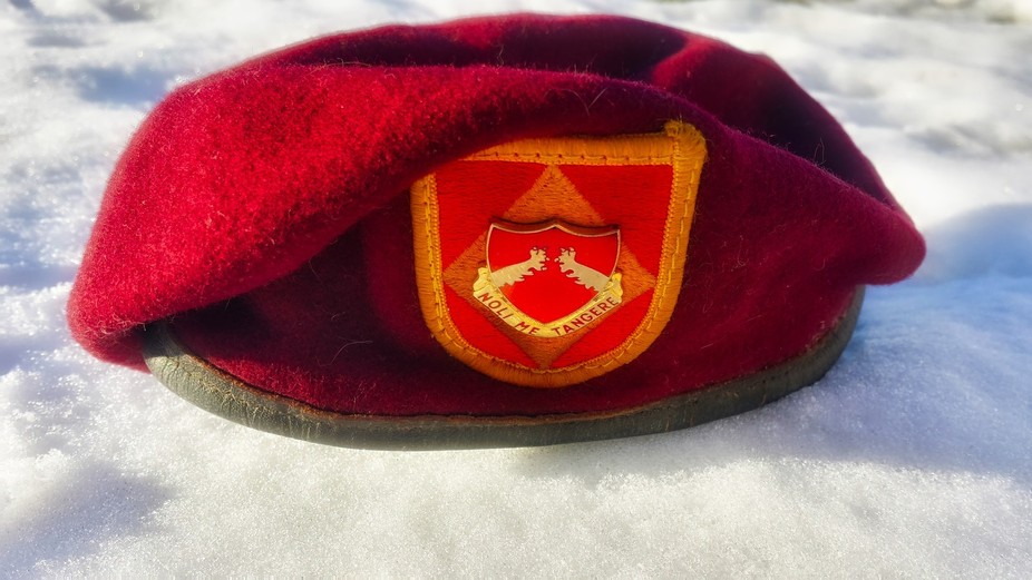 My old army beret in the snow in Utah