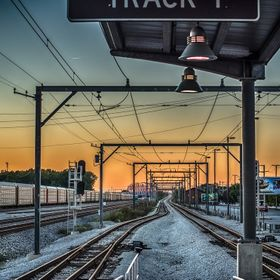 Sunset over the railroad in Hegewisch, Chicago.