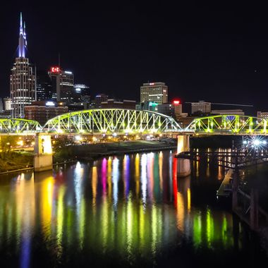 A late Friday evening in Nashville capturing the colors of the downtown lights and sights.