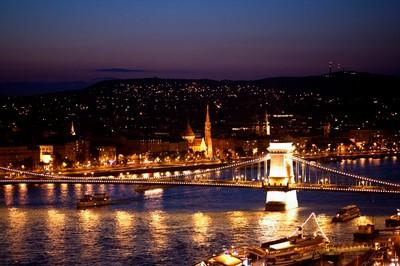 Budapest Bridge At Night