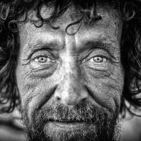 Portrait of a homeless man on the streets of Salt lake city.