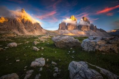 Lavaredo Peaks on Fire