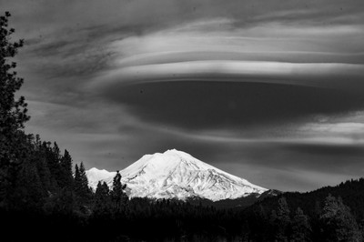 CLOUDS OVER VOLCANO B&W