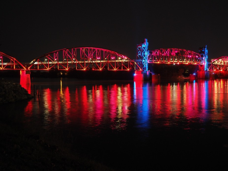 This bridge produces a light show on the top of every hour, changing colors.