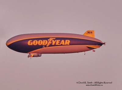 Good Year Blimp N2A flying over Toronto sunset 2016 by David R Smith
