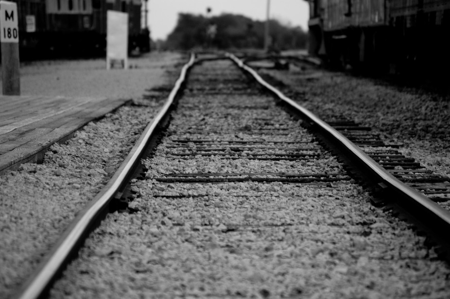 Tracks at a railroad museum.