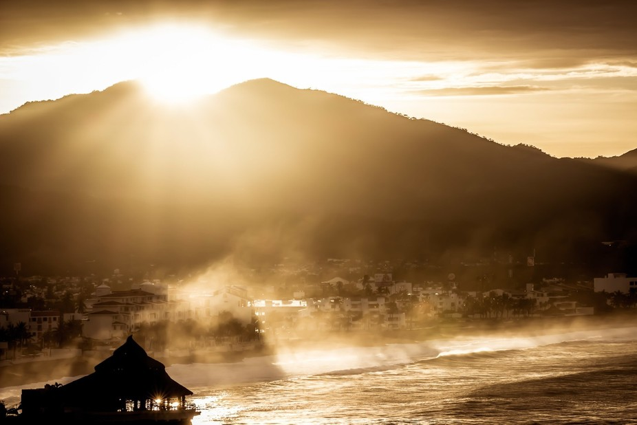 This is a beautiful sunrise in the Bay of Manzanillo a day after Hurricane Newton.
