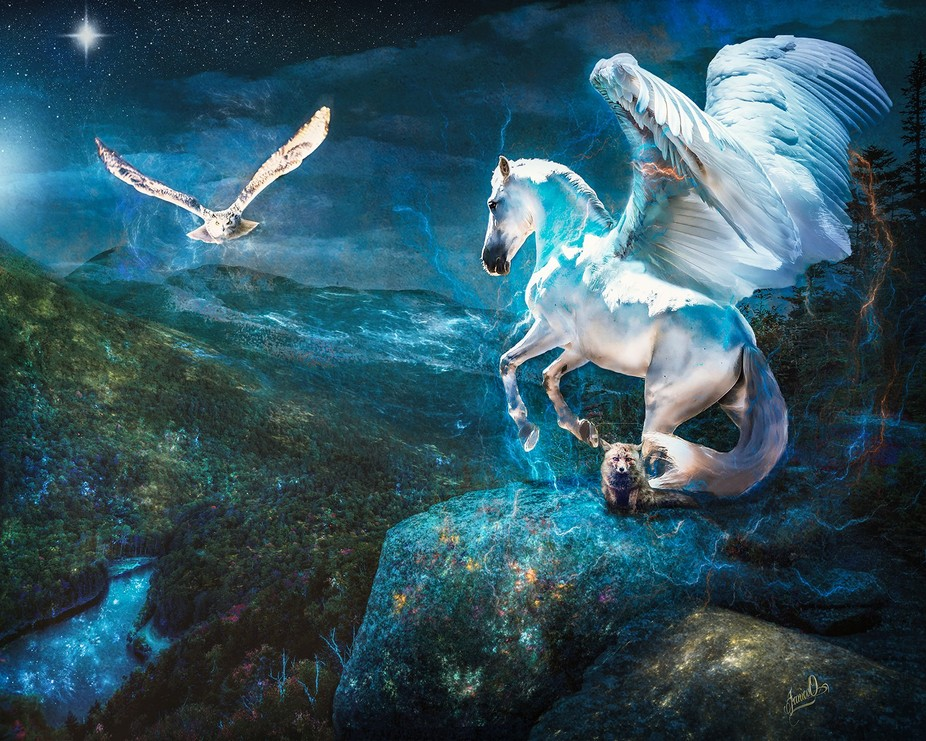 A photo-manipulation combining parts of several images to create a magical, mythical world. Creat...