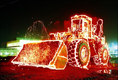 """Front Loader #3"" Timelight Picture Study with Highway Flares & Sparklers"