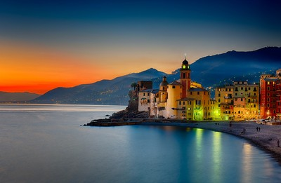 Camogli red sunset