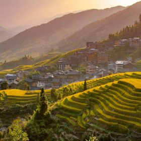 Sunset over the Longji rice terraces in southern China