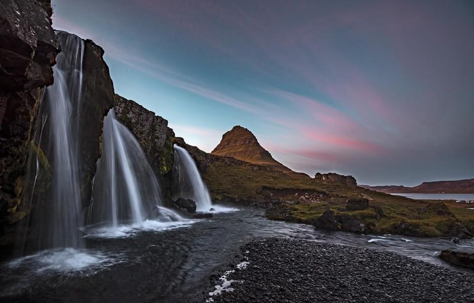 Kirkjufellsfoss sunset, Iceland.