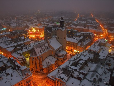 winter evening in Lviv