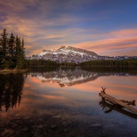 A gorgeous morning at Two Jack Lake in Banff, Alberta, Canada.  This was truly one of those once in a lifetime sunrises with no wind providing th...