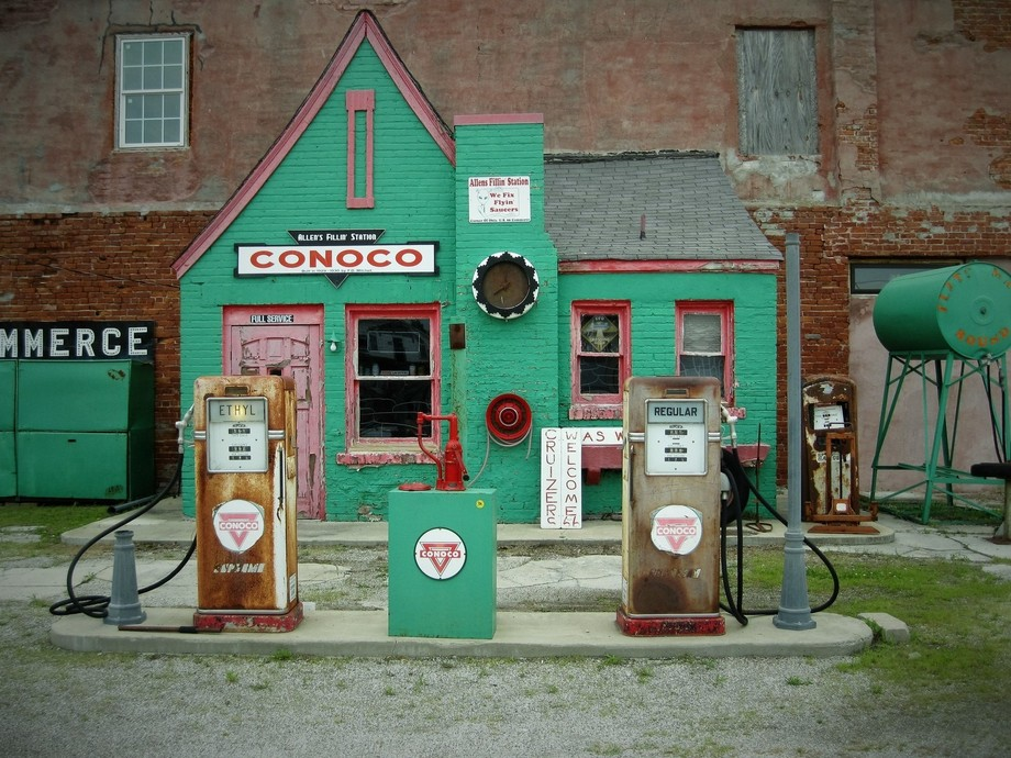 A vintage filling station discovered on a cross country Route 66 road trip.
