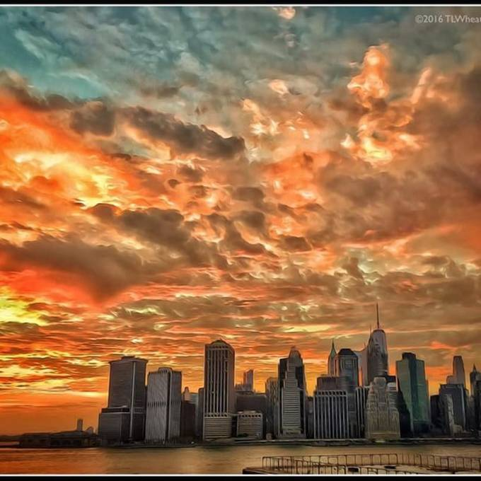 Tonight's sunset over Manhattan from Brooklyn Heights.