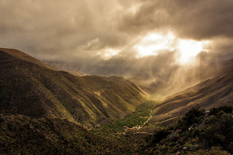 Storm clouds over Gamkaskloof Pass