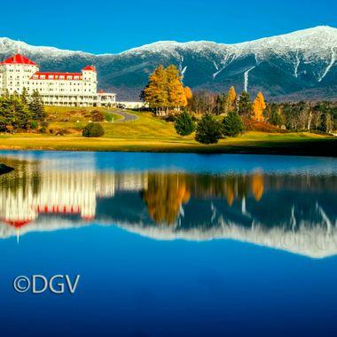Mt Washington Hotel & Mt Washington with Snow & Reflection in Pond